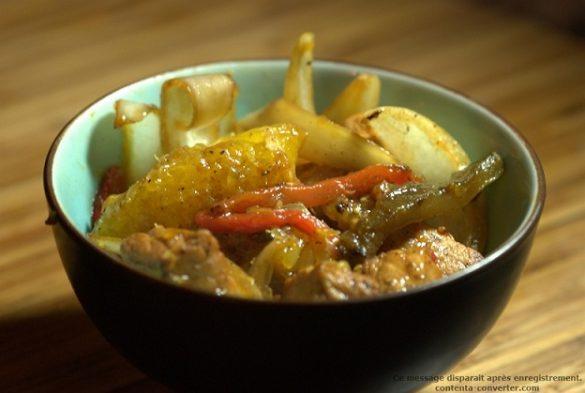 recette de sauté de porc à l'orange, oignons et poivrons