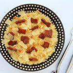 risotto au lard laqué