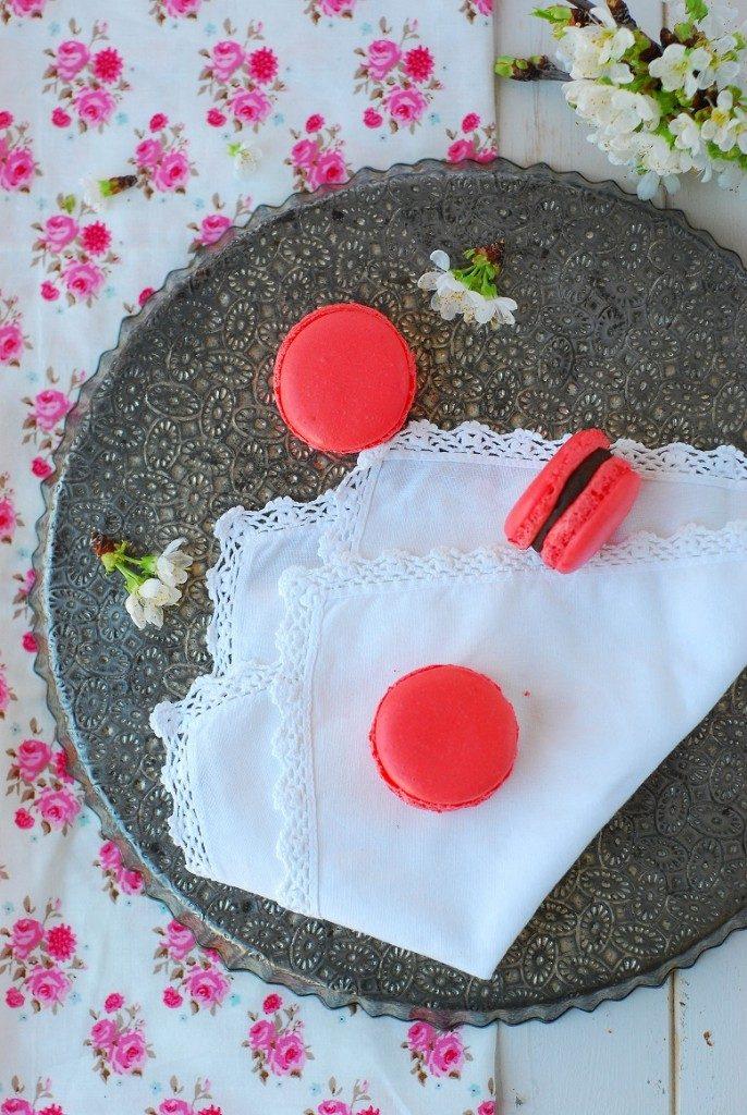 macarons ganache montée chocolat cerise