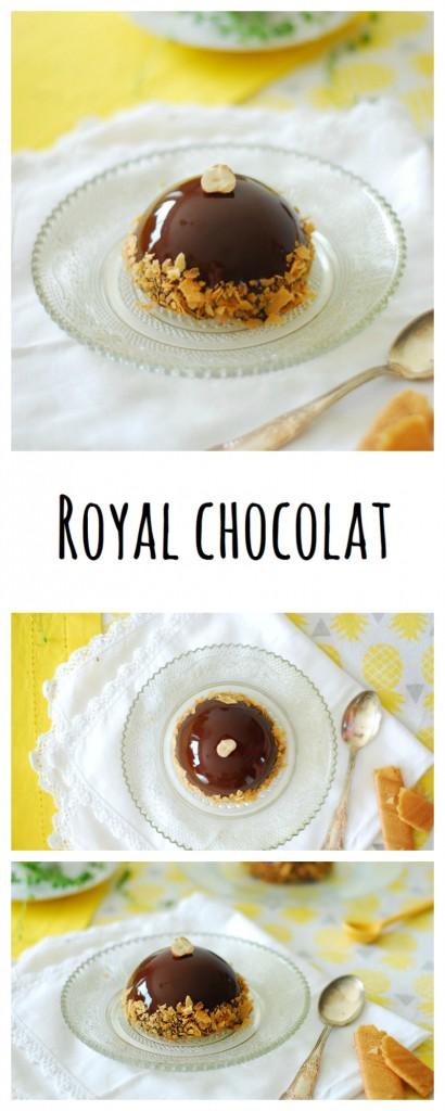 Un royal chocolat en dôme, une dacquoise noisette, un croustillant praliné, une mousse au choclat et un sublime glaçage miroir pour épater ses invités!