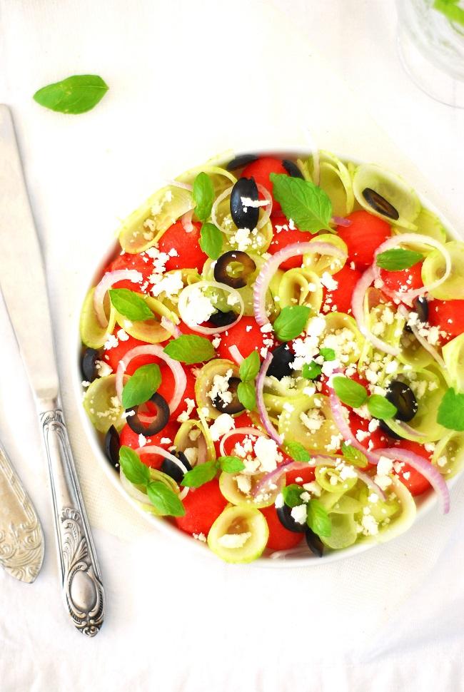 Salade de past que concombre feta olives noires - Salade de pasteque ...