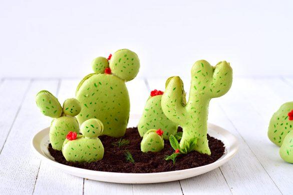 Des macarons cactus avec une ganache montée et insert parfum mojito à l'intérieur, le it-macaron de l'été