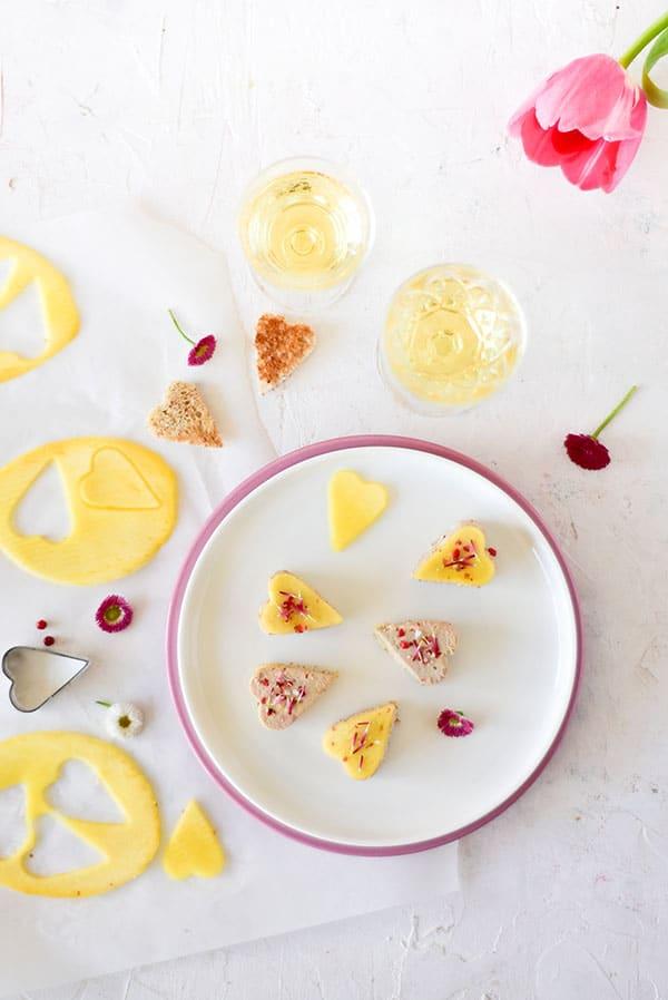 Une recette pour un apéritif de St-Valentin - by confit banane - #foiegras #stvalentin
