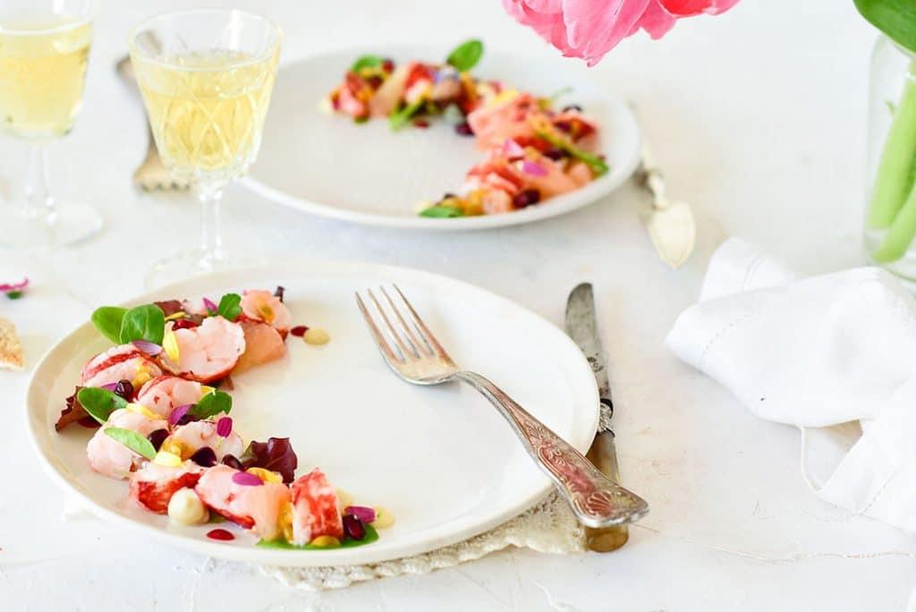 Une recette d'entrée pour la St-Valentin au homard, pamplemousse et yuzu -- recette de confit banane - #yuzu #homard