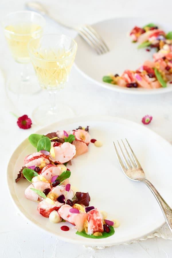 une recette fraiche avec du #homard et du pamplemousse -- confit banane