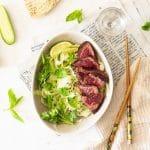 Salade de concombre et tataki de boeuf irlandais
