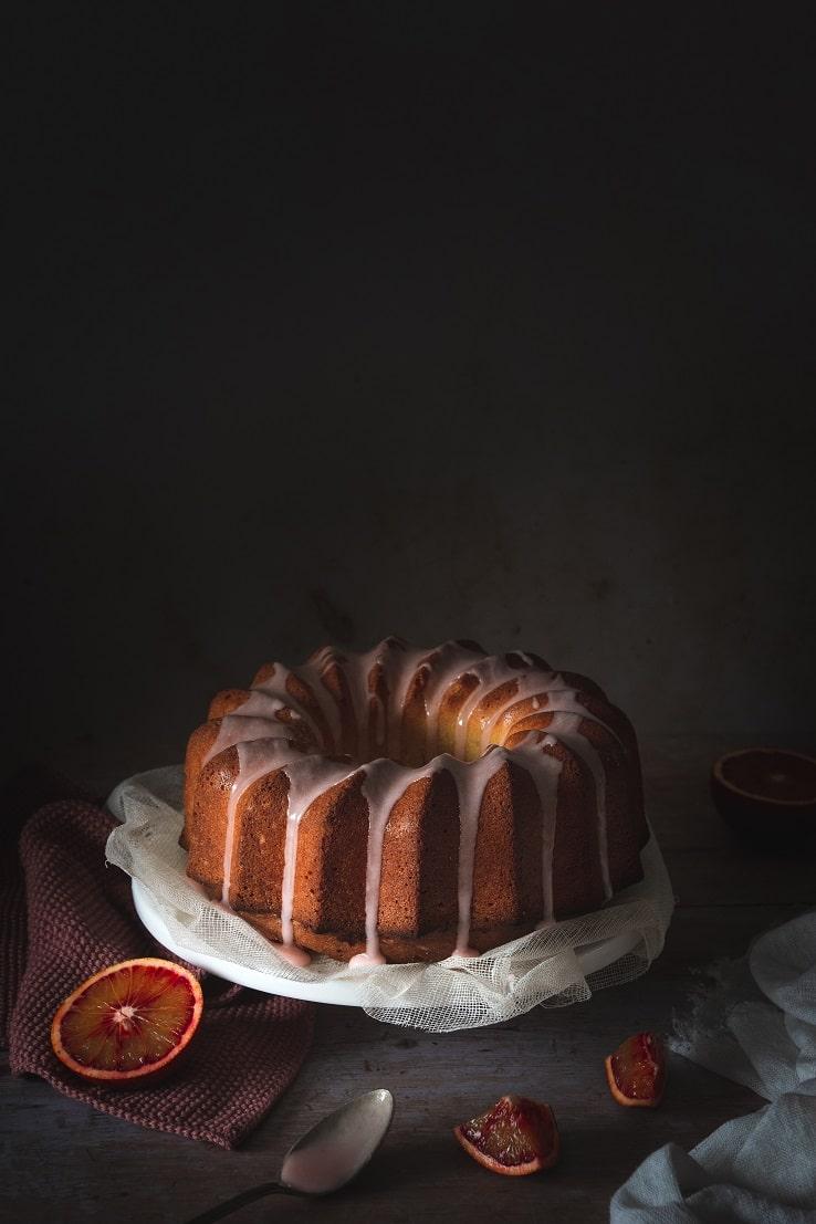 recette de cake aux oranges sanguines et huile d'olive et glaçage à l'orange