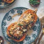 recette de gratin pour l'automne avec une courge butternut farçie • Confit Banane •