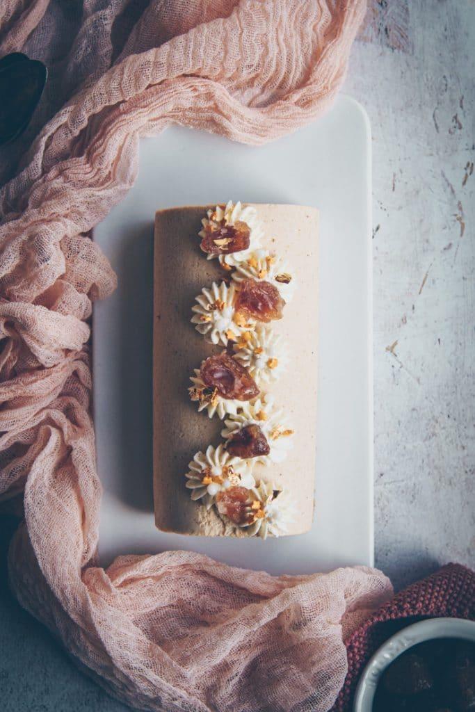 recette de bûche à mousse au marron, framboise - confitbanane