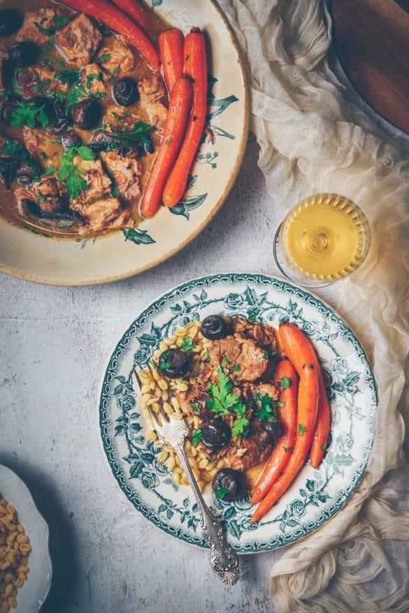 Recette de sauté de porc au cidre, champignons & carottes - ConfitBanane