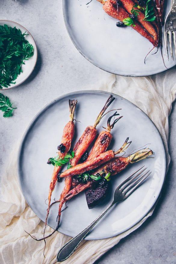 meilleure recette de carottes fanes rôties au four et lacquées au miel - confitbanane