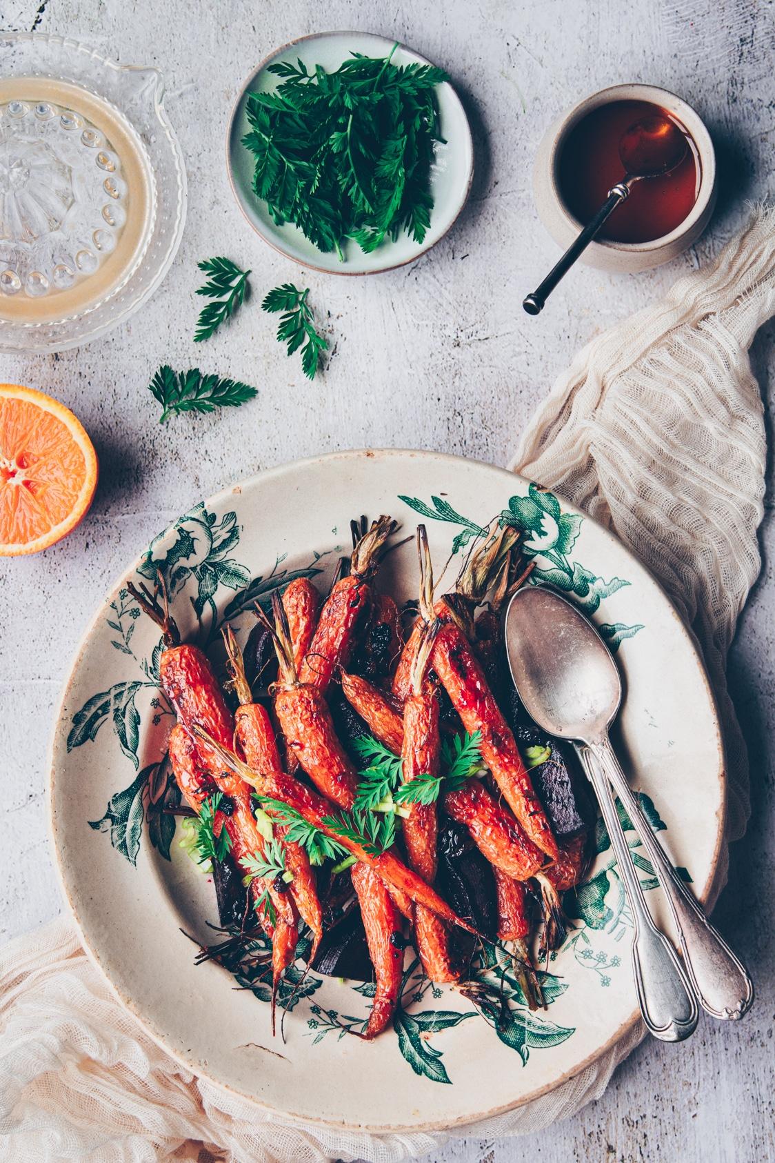 recette de carottes nouvelles rôties au four lacquées au miel - confitbanane