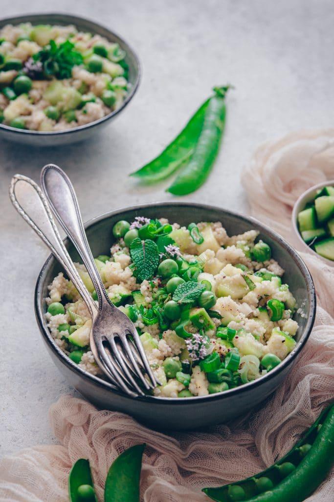 un taboulé léger aux légumes verts de printemps - confitbanane