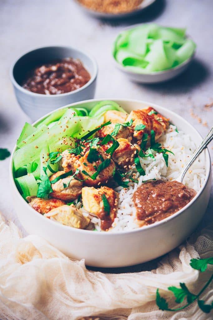 recette de poulet à la sauce cacahuète satay - confitbanane