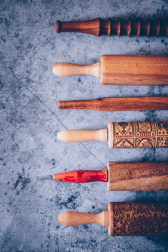 collection de rouleaux à pâtisserie base stylisme culinaire - confitbanane