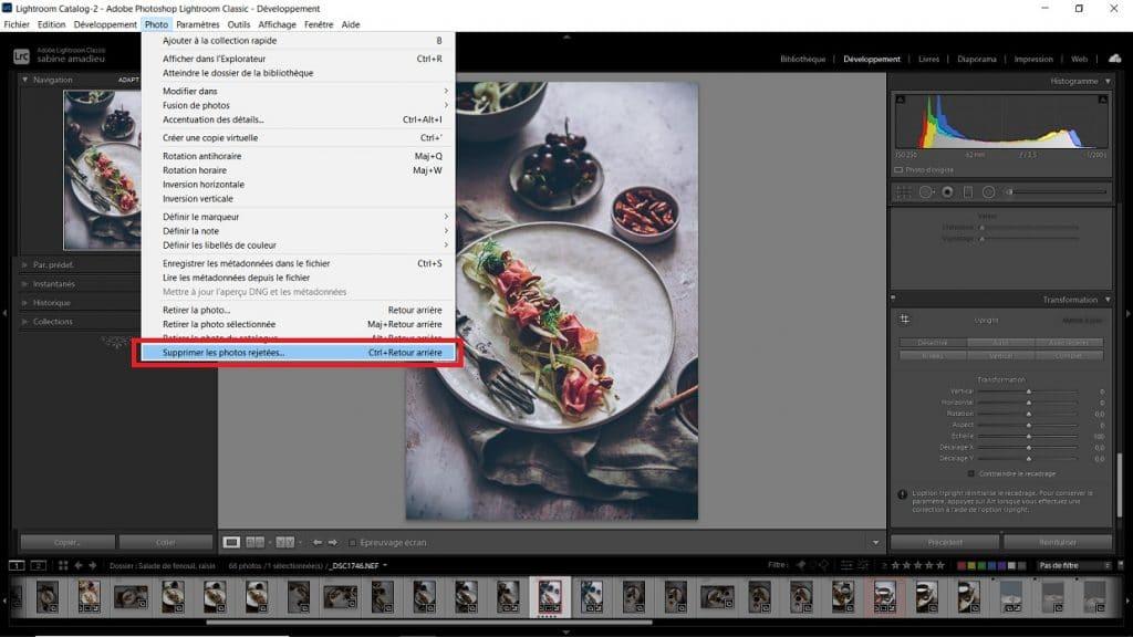 Supprimer les photos rejetées de lightroom - astuces photos par Confit Banane