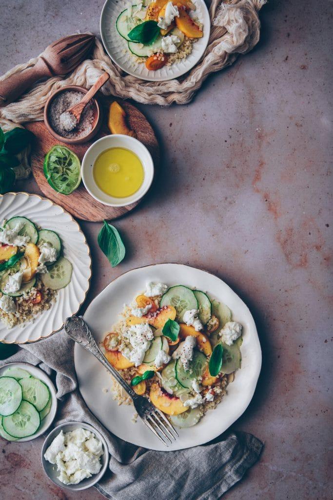 taboulé de boulgour revisité au concombre et à la mozzarella - confitbanane