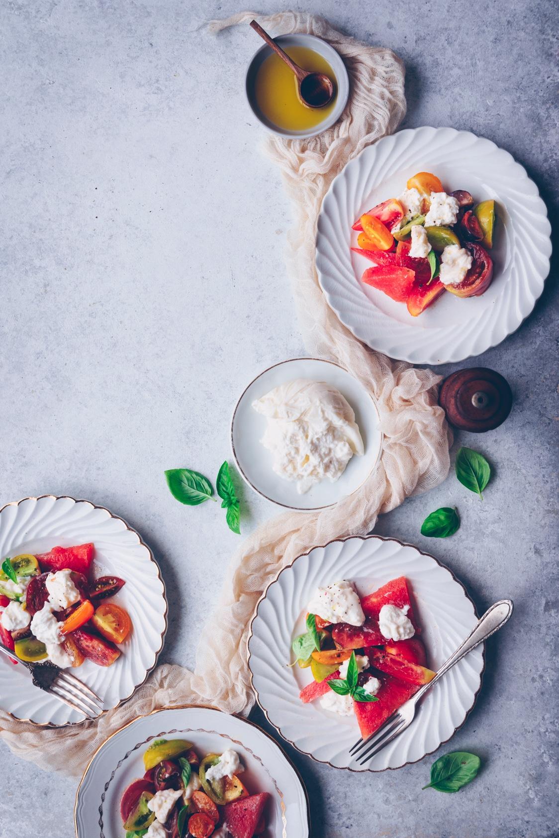 Salade de tomates et burrata