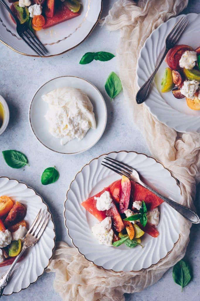 Recette de salade de tomates burrata - confitbanane