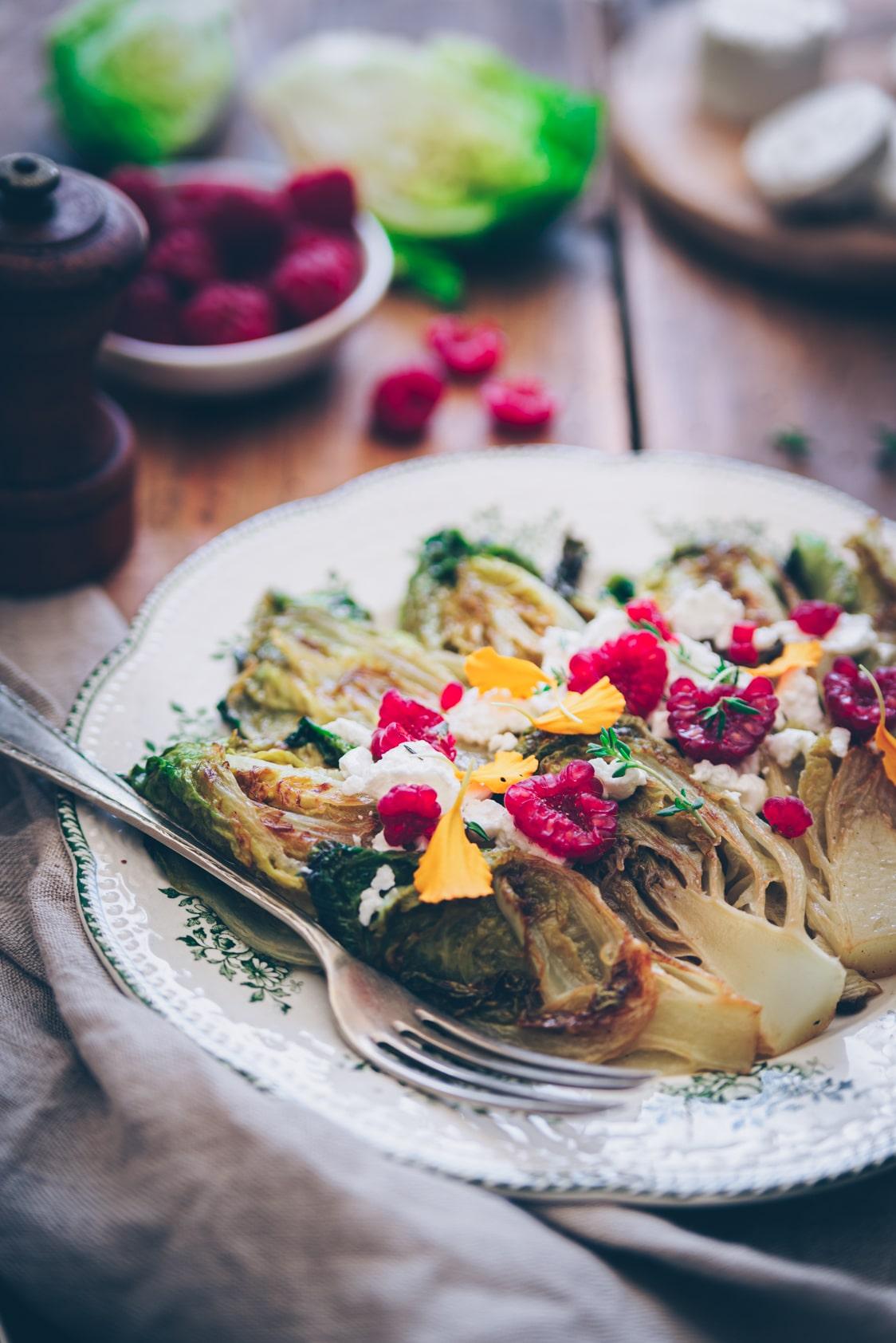 Salade de sucrines braisées au fromage de chèvre