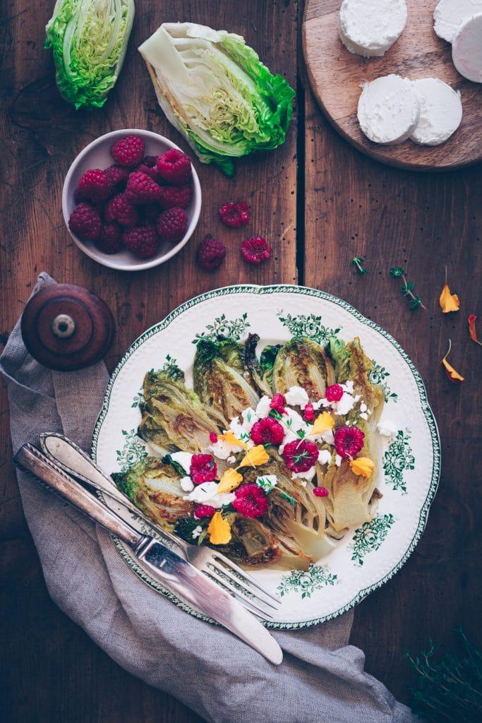Salade de sucrines braisées au fromage frais & framboise - confitbanane