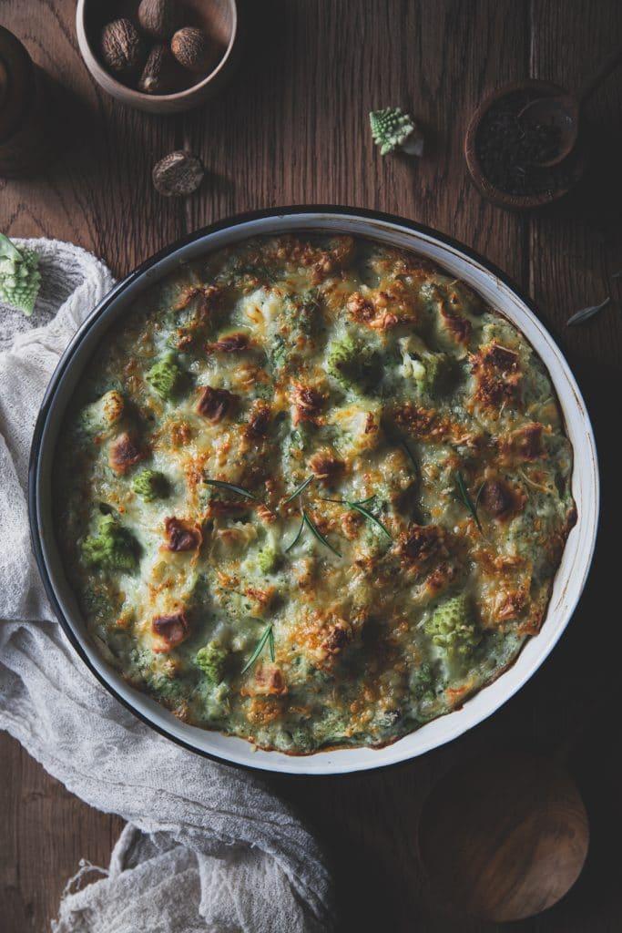Recette de gratin de brocolis aux ravioles de roman
