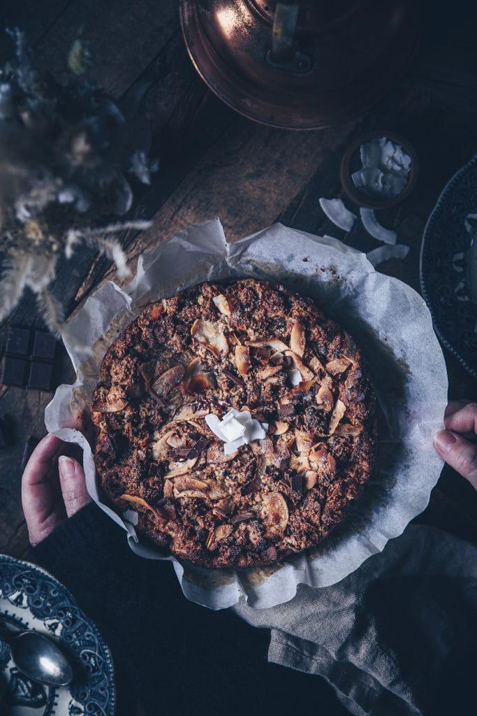 recette de brioche pudding aux pépites de chocolat et noix de coco