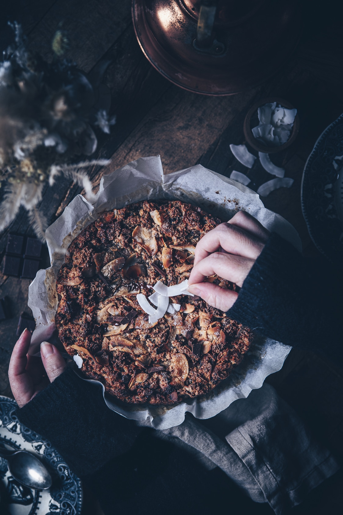 Brioche pudding au chocolat & noix de coco